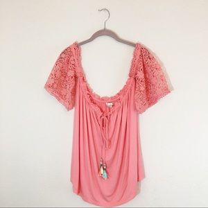Boston Proper | Coral Pink Embroidered Sleeve Top